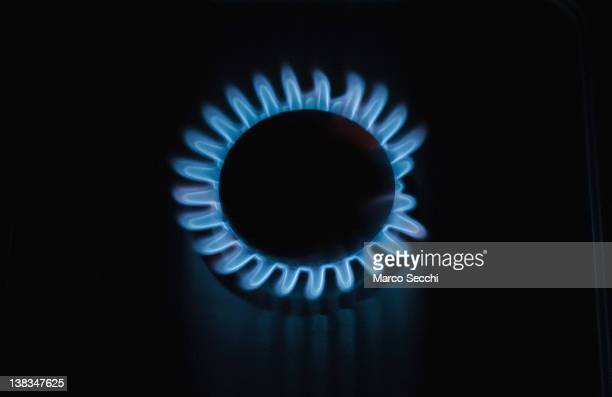 Gas burns to produce flames from a gas ring on a cooker on February 6 2012 in Marghera Italy Russian energy company Gazprom has reduced its supply of...