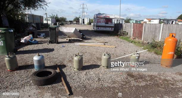 Gas canisters used in barricades at the Dale Farm travellers site at Cray's Hill near Basildon Essex where bailiffs will later this morning begin to...