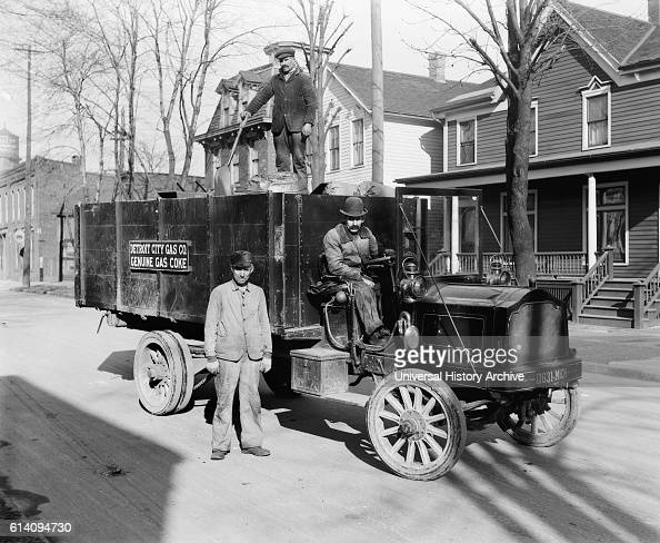 Gas Coke Delivery Wagon and Workers Detroit City Gas Company Detroit Michigan USA circa 1915