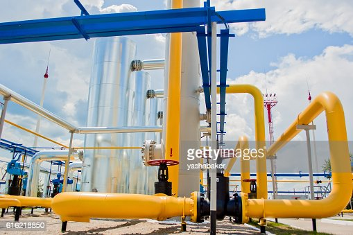 Gas compressor station in Ukraine : Stock Photo