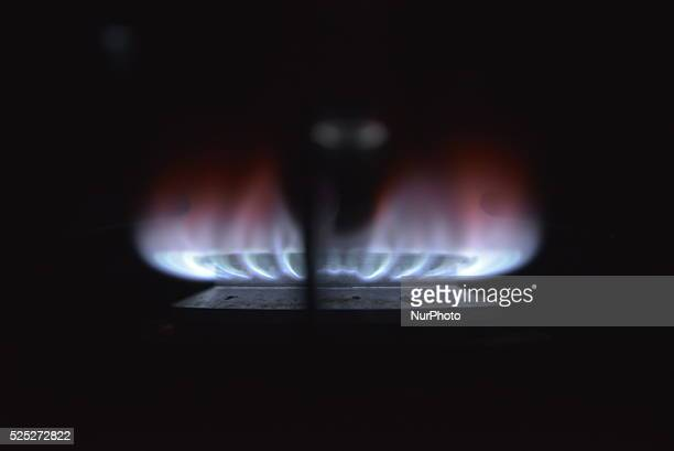Gas flames flickering in Stockport England on Friday 11th December 2015