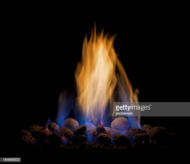Gas flames isolated on black
