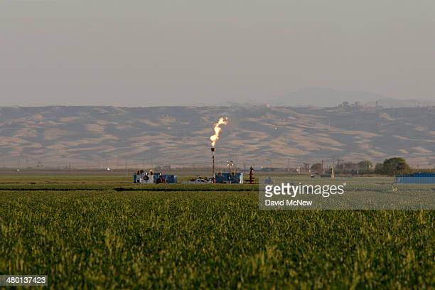 Gas is flared as waste from the Monterey Shale formation where gas and oil extraction using hydraulic fracturing or fracking is on the verge of a...