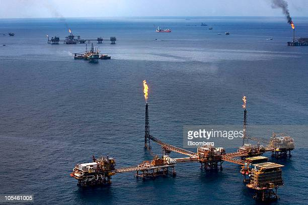 Gas is flared off from Petroleos Mexicanos offshore platforms producing oil from the KuMaloobZaap field in the Gulf of Mexico 65 miles northeast of...