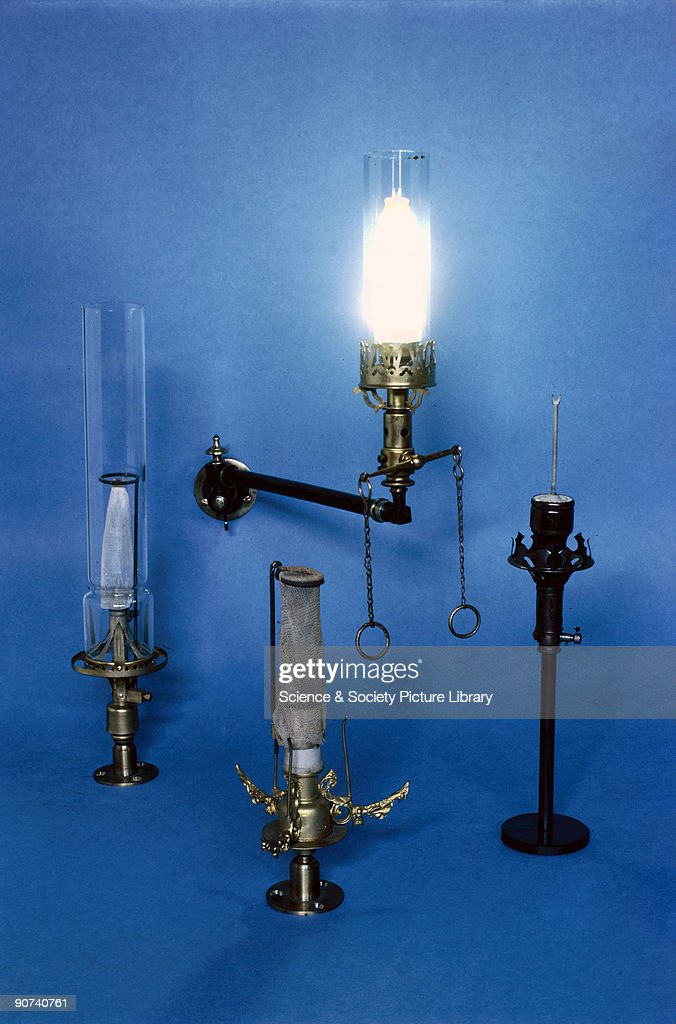 Gas lighting was much improved through the introduction of the incandescent gas mantle in Vienna in the 1880s. In London in 1887, the 'Incandescent Gas Light Company' started selling fragile burners and mantles at high prices. The MacTear burner (left) of 1887, was one of the first and was improved upon by the Heald (bottom centre) in 1889. The pipe-clay fork (right) was then introduced, making the fitting of new mantles much easier. Mantles were 'collodionized' to preserve them during transport.