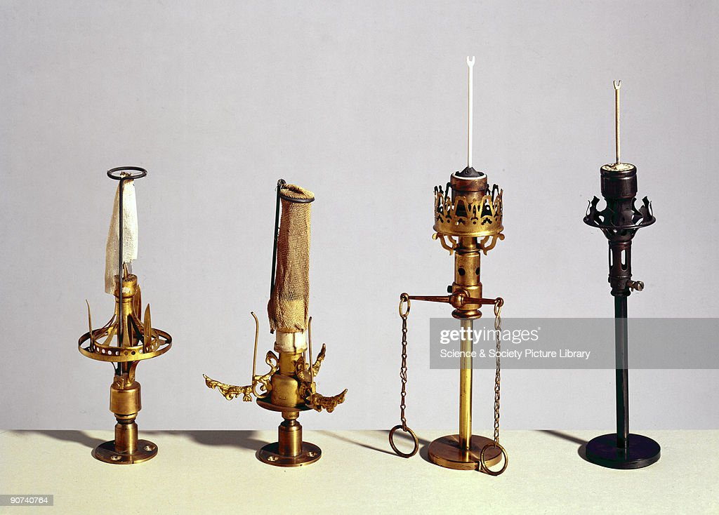 Gas lighting was much improved through the introduction of the incandescent gas mantle in Vienna in the 1880s. In London in 1887, the 'Incandescent Gas Light Company' started selling fragile burners and mantles at high prices. The MacTear burner (left), 1887, was one of the first, and was improved upon by the Heard burner (second from left), introduced in 1889. The pipe-clay fork (right) was then introduced and this made the fitting of new mantles an easy task.