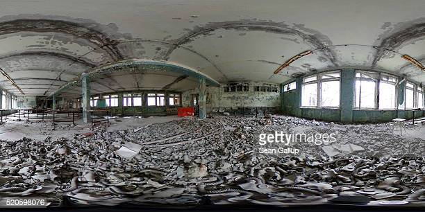Gas masks lie scattered on the floor of a former classroom in elementary school number three on April 9 2016 in Pripyat Ukraine Pripyat built in the...