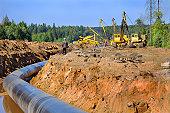 Construction of the gas pipeline, Leningradskaya oblast, Russia.