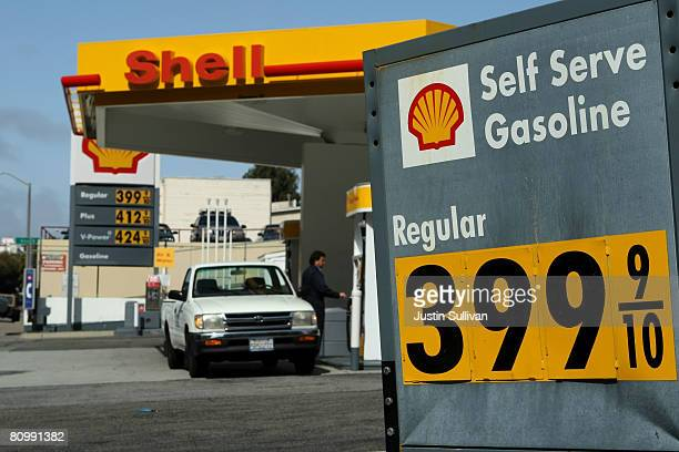Gas prices are displayed at a Shell station May 5 2008 in San Francisco California US gas prices have shot up nearly fifteen cents in the past two...