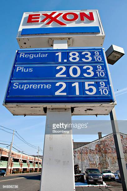 Gas prices are displayed at Tom's Exxon gas station in Summit New Jersey on Saturday Feb 7 2009 At $489 a gallon Eel Chang may be selling the most...
