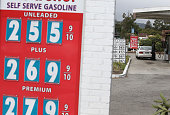 Gas prices below $300 a gallon are displayed at a gas station on September 14 2015 in San Anselmo California The average price of a gallon of regular...