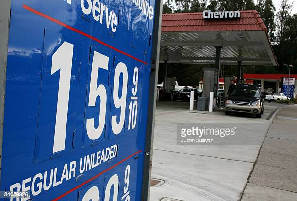 Gas prices near $150 per gallon are displayed at a Chevron gas station December 16 2008 in Mill Valley California The national average price for a...