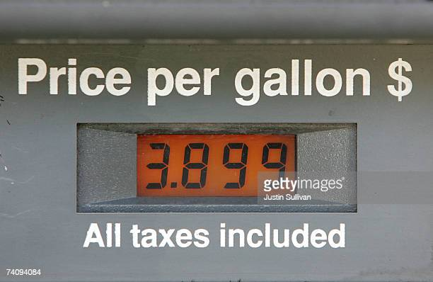 Gas prices nearing $4 a gallon are seen on a pump display May 7 2007 in San Francisco California Gas prices reached a record national average price...