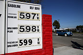 Gas prices nearing $600 per gallon are displayed at Bridgeway Gas on March 3 2015 in Sausalito California US gas prices have surged an average of 39...