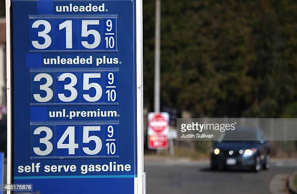 Gas prices over $300 are displayed at an Arco gas station on March 3 2015 in Mill Valley California US gas prices have surged an average of 39 cents...