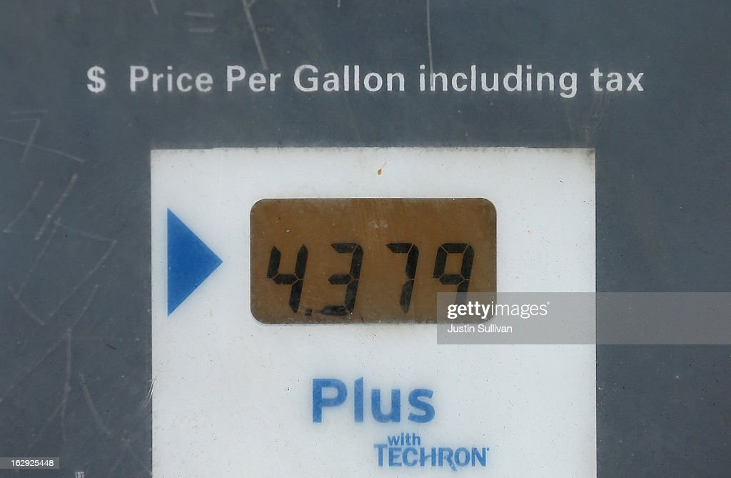 Gas prices over $4.00 a gallon are displayed on a pump at a Chevron gas station on March 1, 2013 in San Francisco, California. The California Board of Equalization voted on Thursday to implement a statewide excise tax on gasoline starting July 1 that will increase the tax by 3.5 cents to 39.5 cents per gallon.