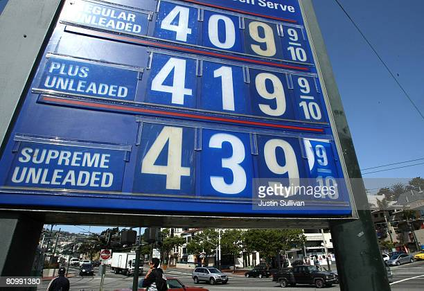 Gas prices over $400 per gallon are displayed at a Chevron station May 5 2008 in San Francisco California US gas prices have shot up nearly fifteen...
