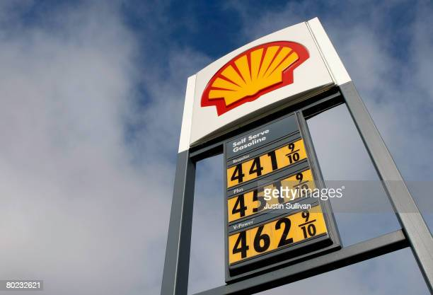 Gas prices over $400 per gallon are displayed at a Shell station March 13 2008 in San Mateo California The price of oil reached a record high of $111...