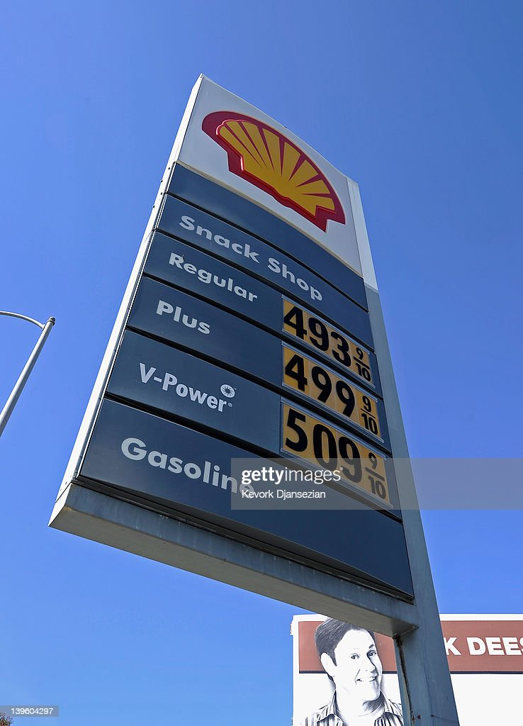 Gas prices over four and five dollars are posted on a Shell station on Olympic Boulevard on February 23, 2012 in Los Angeles, California. President Barack Obama is expected to unveil his plan for keeping fuel prices down during a speech at the University of Miami today.