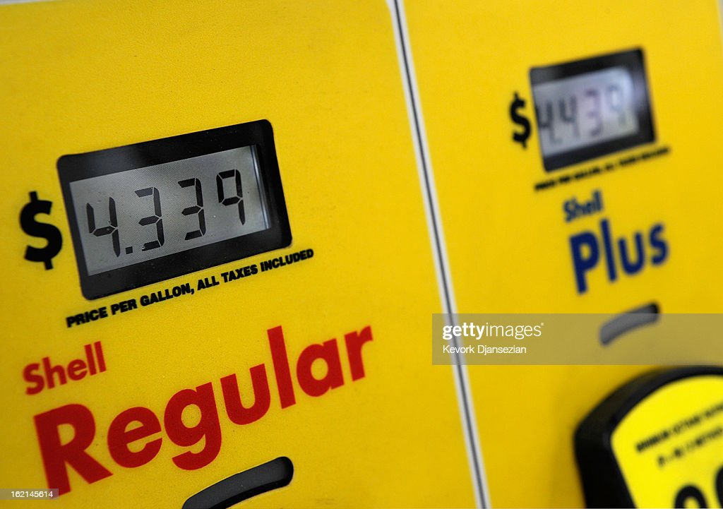 A gas pump displays prices at a Shell service station on February 19, 2013 in Tustin, California. U.S. gas prices have climbed to a four-month high and its expected to keep rising as the summer driving season approaches.
