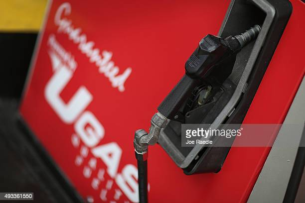 A gas pump is seen at a UGas station on October 19 2015 in Miami Florida As gas prices remain low across the nation a recent study released by...