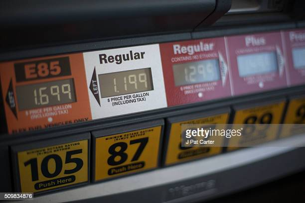 A gas pump reflects lower gas prices February 12 2016 at a north west Oklahoma City Oklahoma gas station Most gas stations in Oklahoma City are...
