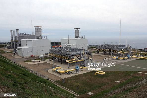 Gas pumping units are seen at the Beregovaya compressor station part of the Blue Stream gas pipeline a joint venture between OAO Gazprom and Eni SpA...