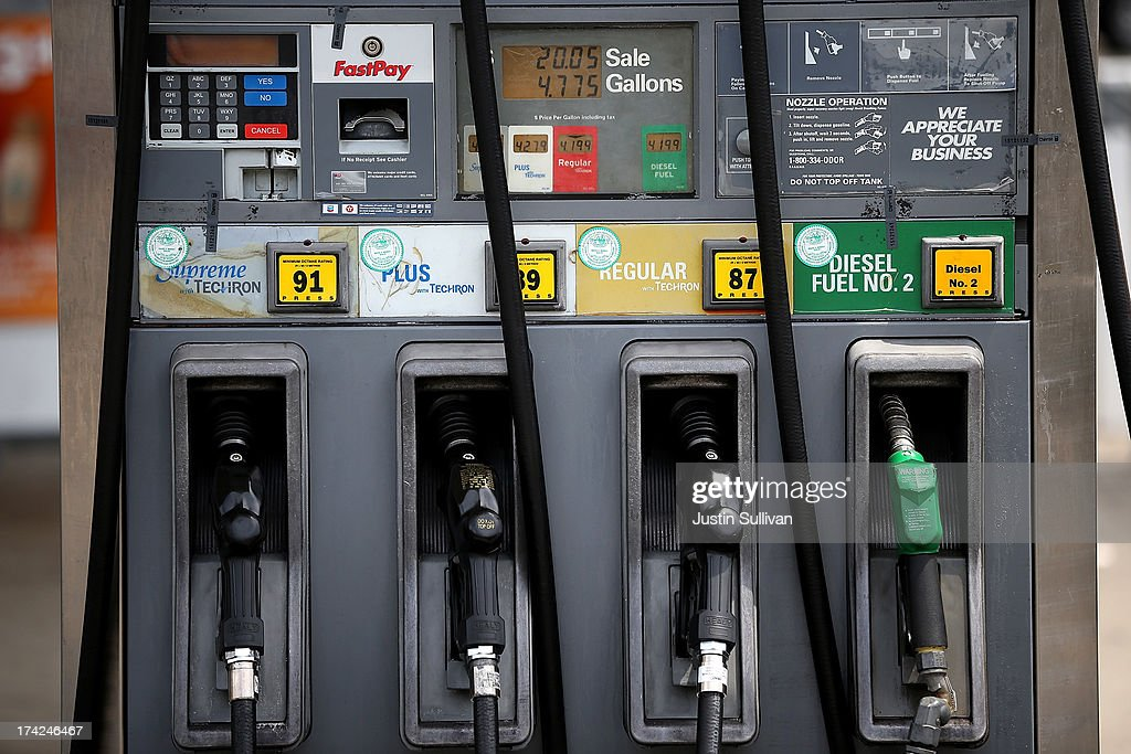 Gas pumps are seen at a Chevron gas station on July 22 2013 in San Francisco California According to AAA the national average price for a gallon of...