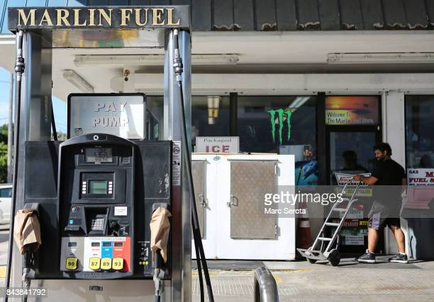 Gas pumps are sold out and shut down as people continue to prepare for Hurricane Irma in Islamorada Florida on September 7 2017 Over 35000 people...