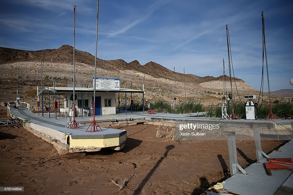Gas pumps sit on a dock at the abandoned Echo Bay Marina on May 12 2015 in Lake Mead National Recreation Area Nevada As severe drought grips parts of...