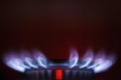 A gas ring on a domestic stove powered by natural gas is seen alight on January 3 2005 Manchester England Russia had decreased pressure in the...