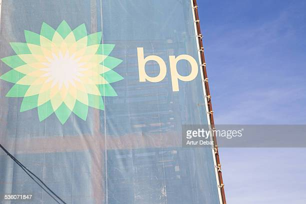 BP gas station company with blue sky