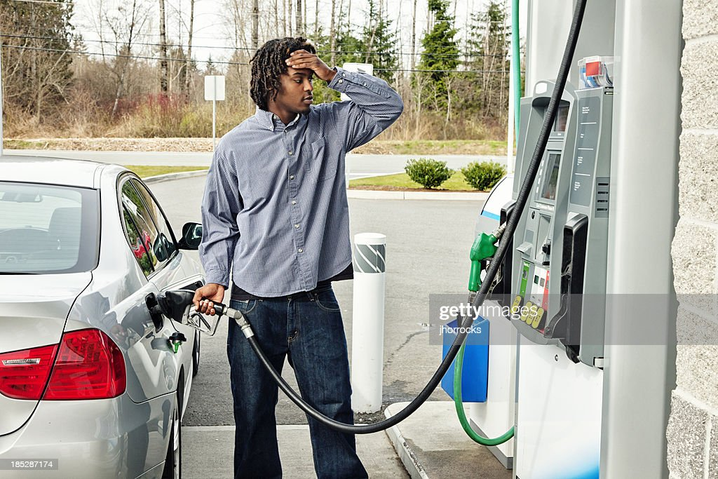 Gas Station Frustration : Stock Photo
