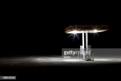 Gas station in desert at night