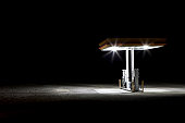 Gas station in desert at night