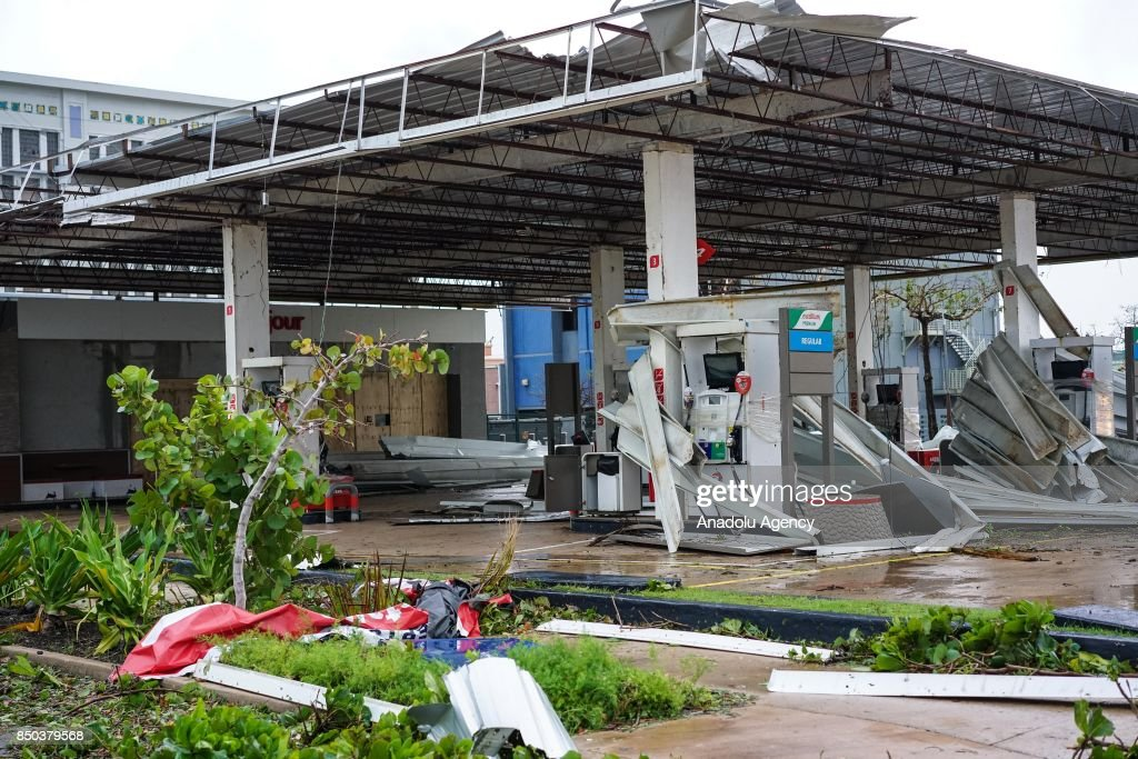A gas station is damaged after Hurricane Maria at Old San Juan in San Juan, Puerto Rico on September 20, 2017.