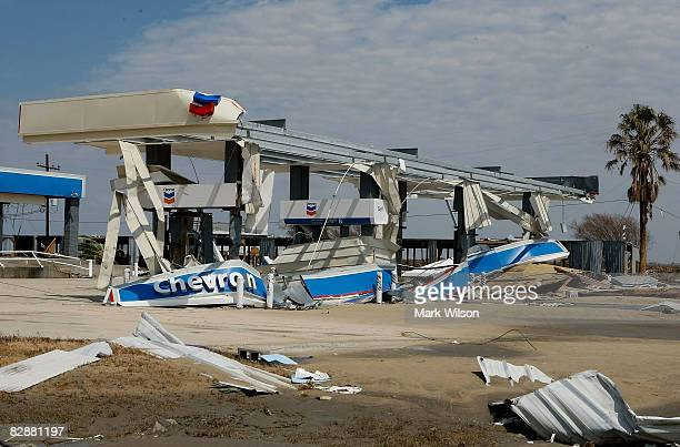 A gas station on HWY 87 is left demolished following Hurricane Ike on September 18 2008 in Crystal Beach Texas Hurricane Ike caused wide spread...