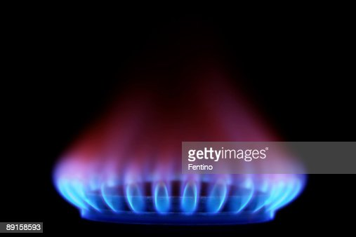 Gas Stove from side  (Blue Flames on Black)