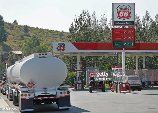 A gas truck sits on standby at a Phillips 66 gas station in case of any gas shortages on August 20 2017 in Jackson Wyoming People are flocking to the...