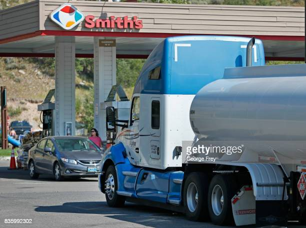 A gas truck sits on standby at a Smiths gas station in case of any gas shortages on August 20 2017 in Jackson Wyoming People are flocking to the...
