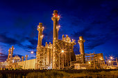 Gas turbine electric power plant at night