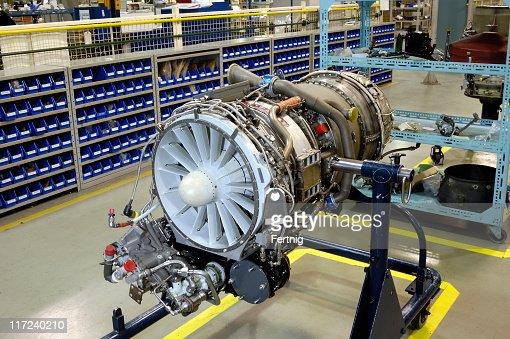 Gas turbine (jet) engine on stand for overhaul