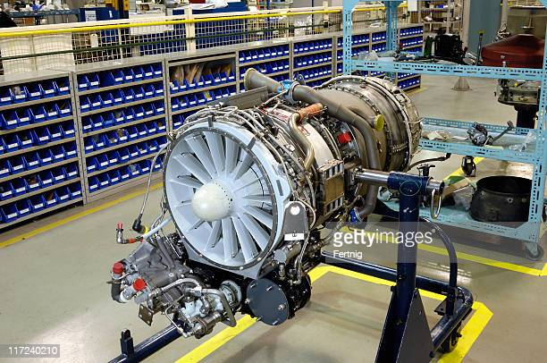 Gas turbine (jet) engine on stand for overhaul