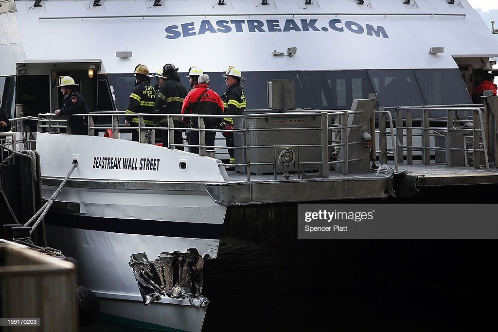A gash in the Seastreak ferry is viewed following an early morning ferry accident during rush hour in Lower Manhattan on January 9, 2013 in New York City. About 50 people were injured in the accident, which left a large gash on the front side of the Seastreak ferry at Pier 11.