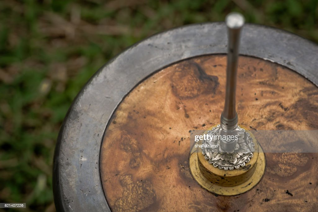 'Gasing' or tops spinning, a traditional game popular among Malay in Malaysia. : Stock Photo