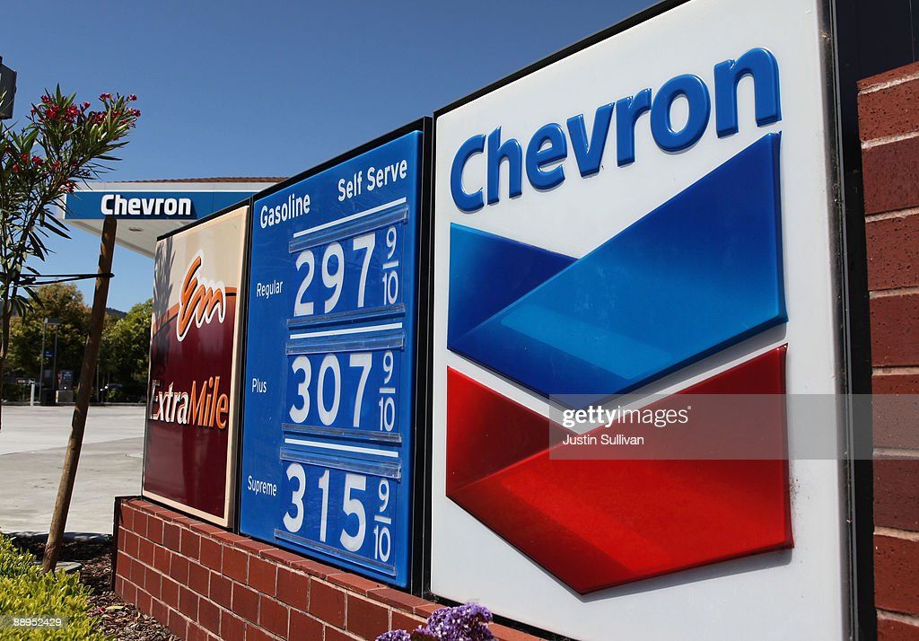 Gasoline prices are displayed at a Chevron service station July 9 2009 in Greenbrae California Chevron will report quarterly earnings after the...