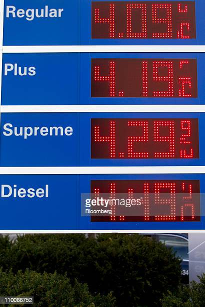 Gasoline prices are displayed at an Exxon Mobil Corp filling station in Washington DC US on Monday March 14 2011 Consumer confidence fell last week...