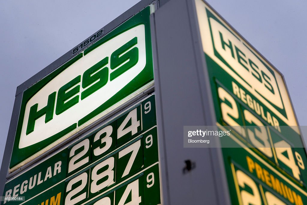 gasoline prices are displayed on signs at a hess corp gas station in washington