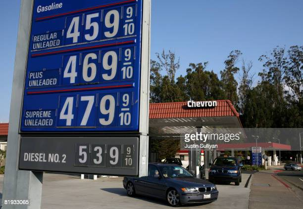 Gasoline prices over $400 per gallon are displayed at a Chevron gasoline station July 14 2008 in Mill Valley California As gasoline prices continue...