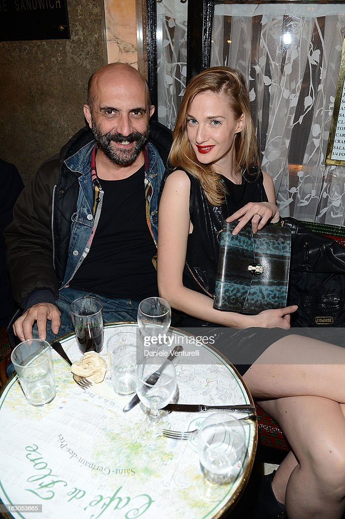 Gaspar Noe and Eva Riccobono attends the Bulgari And Purple Magazine Party at Cafe de Flore on March 3, 2013 in Paris, France.